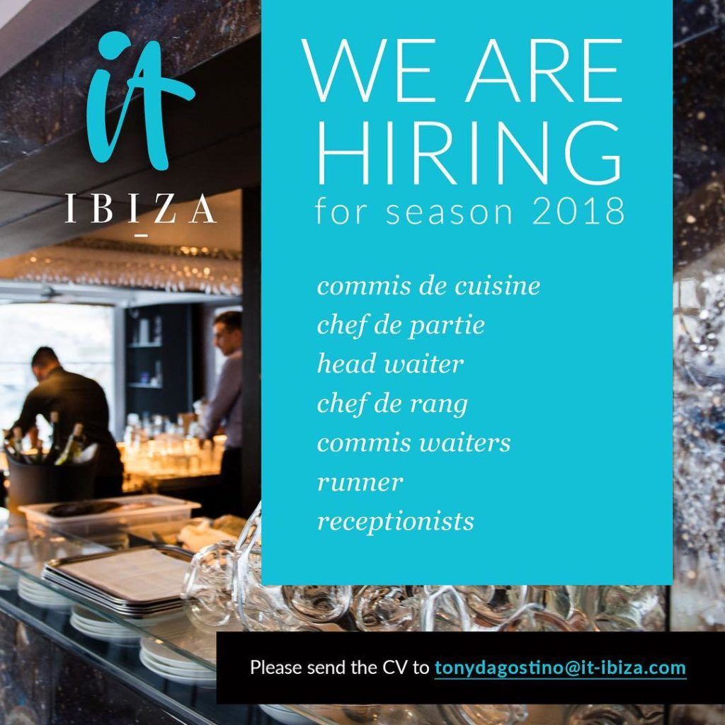 Job opportunities at it ibiza for summer 2018 ofertas de - Salaire net commis de cuisine ...