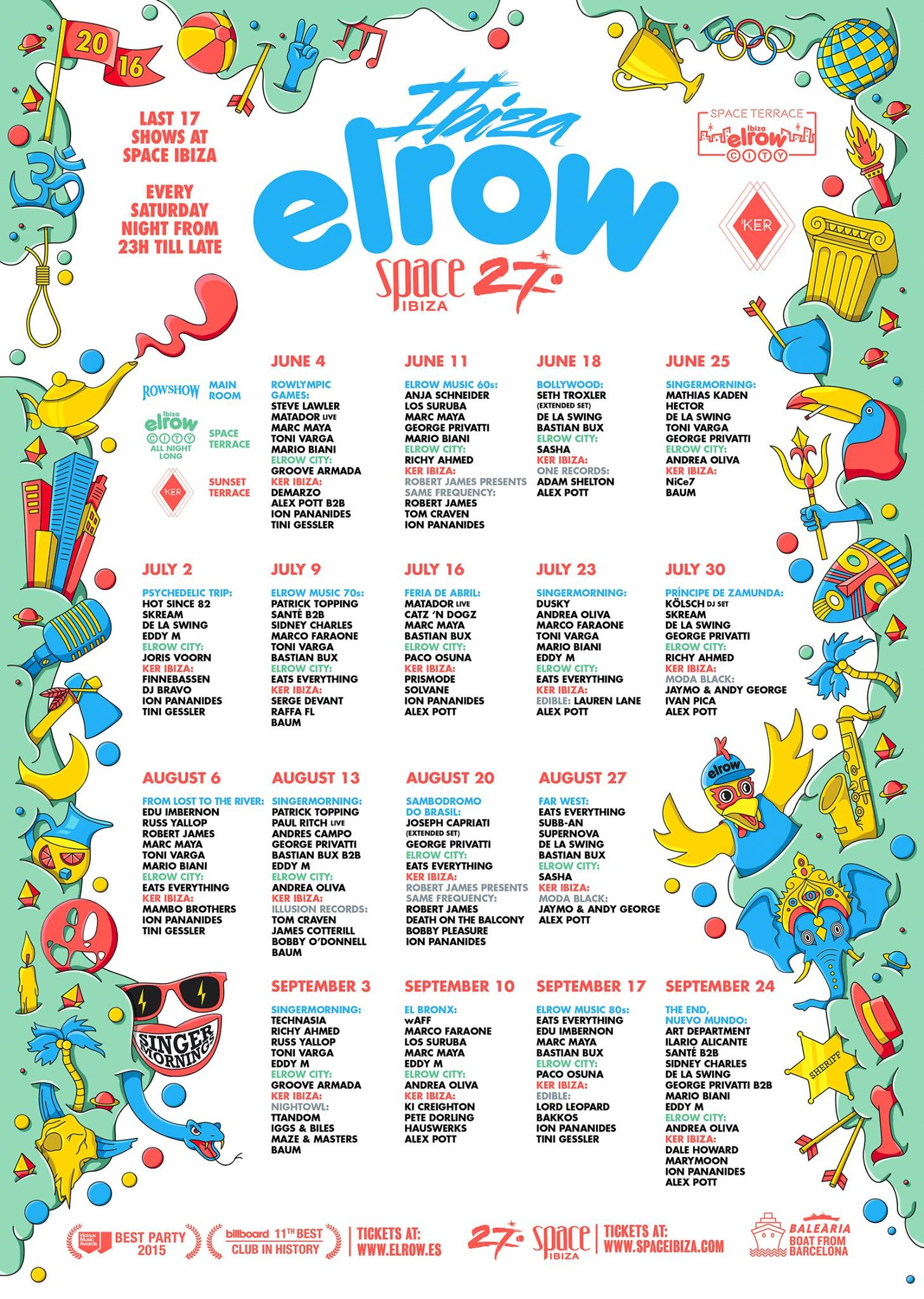 Calendar Ibiza June : El row reveal the season line up at space ibiza